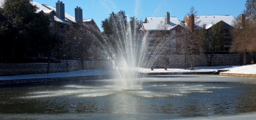 Snowy Fountain in Dallas 2