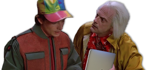 Doc Brown and Marty McFly reading an iPad