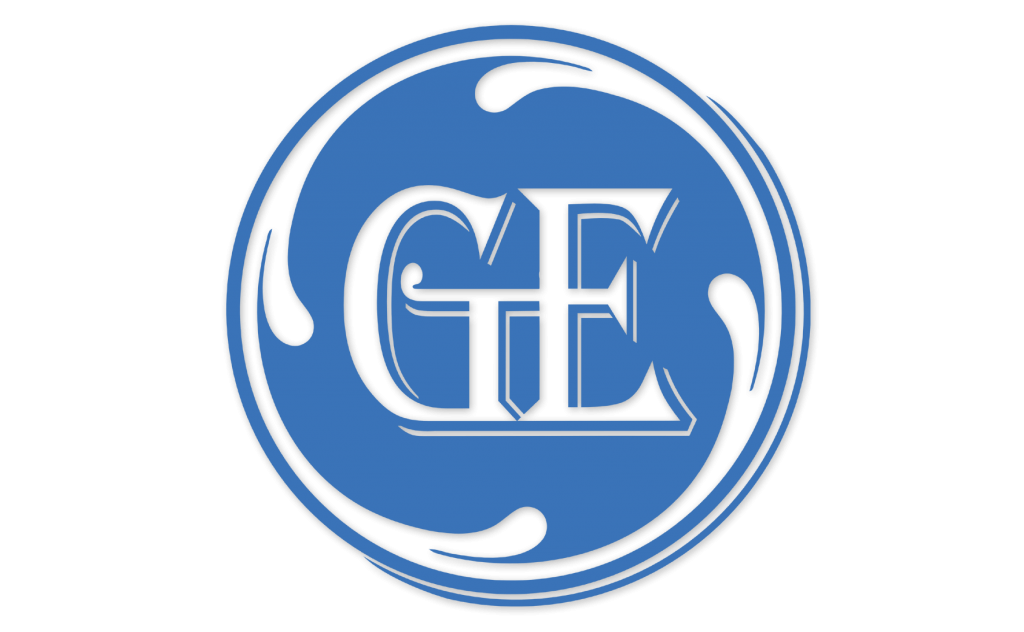 GE Logo in Algerian Font