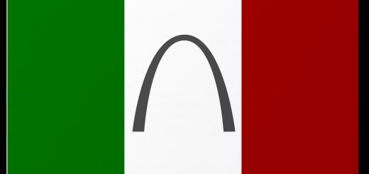 Italian Flag with Gateway Arch