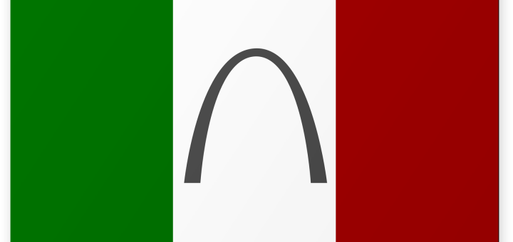 Italian Flag with Gateway Arch