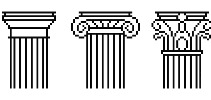 Pixelated Ionic Doric and Corinthian Orders