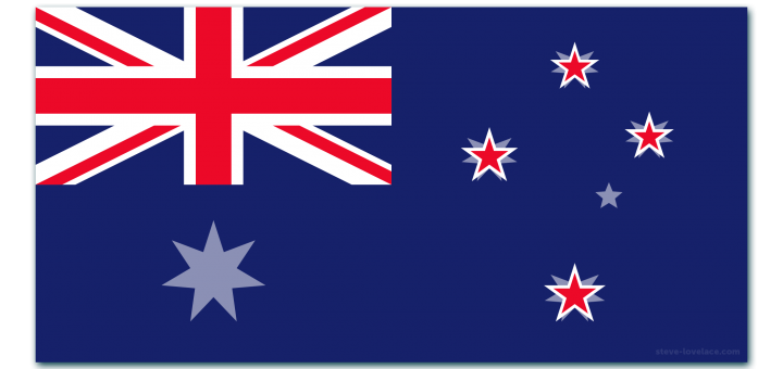 Flag of New Zealand over the Flag of Australia
