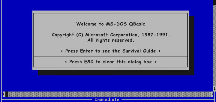 QBasic Screen in Comic Sans