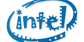 Intel Logo in Jokerman Font